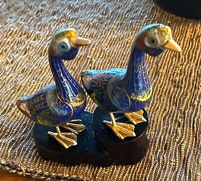 Antique Chinese Cloisonne Pair of Geese Enamel Brass Figurine On Stand