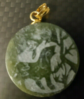 Wolf or Wild Dog Carved Green Jade 1 Inch Disk Style White Top Estate Older?