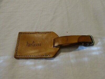 Vintage HARTMANN Luggage Leather Address Hang Tag Natural Tan
