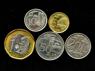 Singapore 2013/14 Five High Grade And Value Coins Set >1 Dollar To 5 Cents
