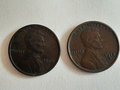 TWO USA ONE CENT COINS 1910s +1912s