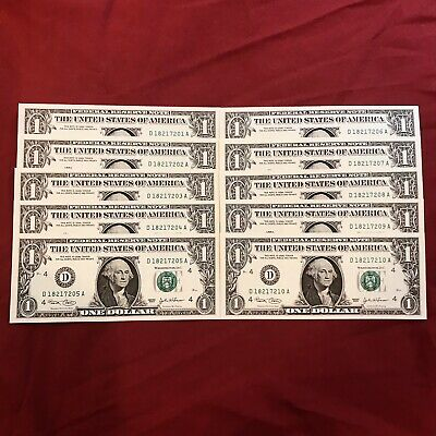 10x 2003 One Dollar Connective Notes $1 Crisp UNC Bill US Currency Lot