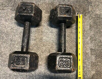Hex Dumbbells 20 Lb. Cast Iron Set of 2 - Pair 20 Lbs. Each  - Free Weights