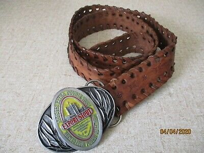 Carlton United Abbots Extra Double Stout Belt Buckle And Belt