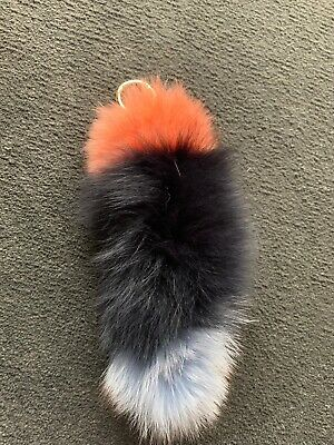 New Rare Genuine Rabbit Fur Stripe Keyring From Tokyo Japan