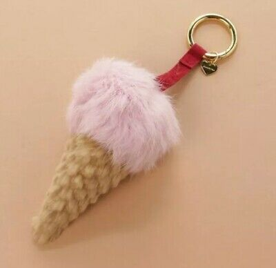 New Rare Samantha Vega Japan Genuine Fur Ice Cream Keyring Pink