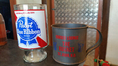 2 x blue ribbon beer cups plastic and metal