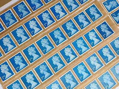 100 X 2Nd Class Unfranked Stamps Self Adhesive Easy Peel F/V £65