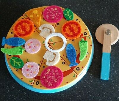Wooden Pretend Play Food Pizza and Cutter