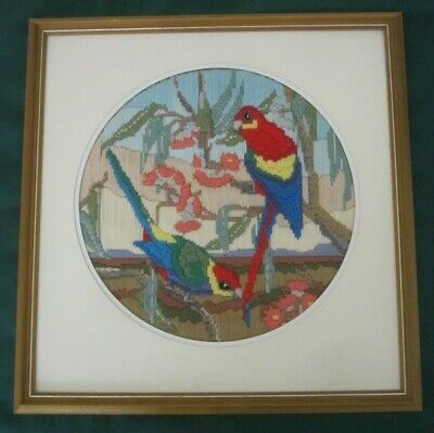 "COMPLETED SEMCO LONG STITCH ""ROSELLAS & BLOSSOM # 3105-APPROX 28 cm DIAM-FRAMED"