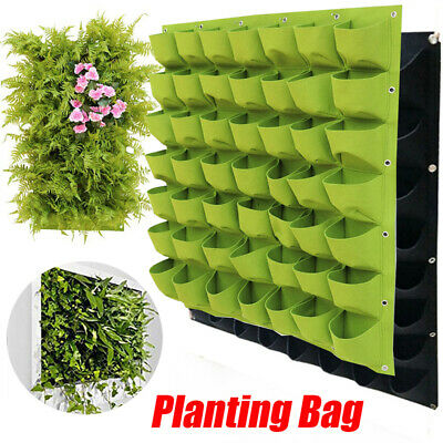 2~72Pockets Vertical Wall Mount Garden Hanging Planting Growing Planter Bag