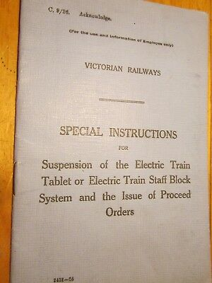 Instructions. Suspension of Train Tablet system /proceed Order. Vic Rail [C9/26]
