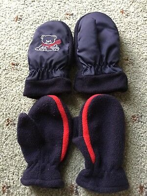 Size 3 Navy Mittens x 2 Sets