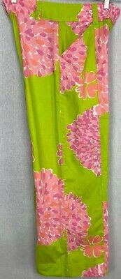 Lilly Pulitzer Wide Leg Pants Floral Pattern Size 8 Pockets Cotton Spandex 31/29