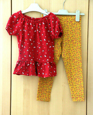NEXT Girls Red Ditsy Peplum Top & Ochre Floral Print Leggings Age 5 Years BNWT