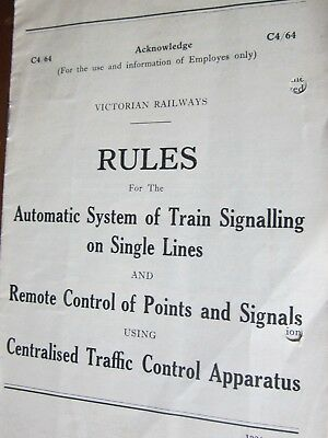 Rules forAutomatic Train Signaling on single lines. Vic Rail [C4/64]