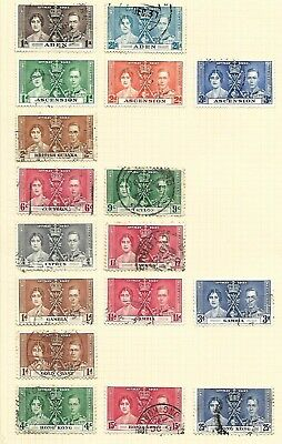 1937 Coronation Lot of Fine Used and LMM Sets and Part Sets on 4 Pages