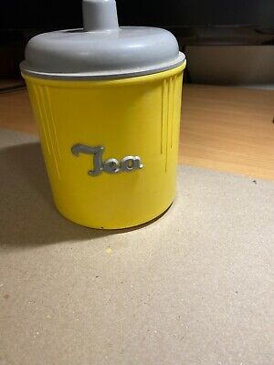 VINTAGE EON WARE Bakelite Tea Canister In Grey And Yellow Excellent Condition