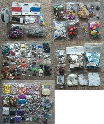BRAND NEW Craft Bundle Wooden Glass Plastic Craft Beads, Buttons, Sequins etc.