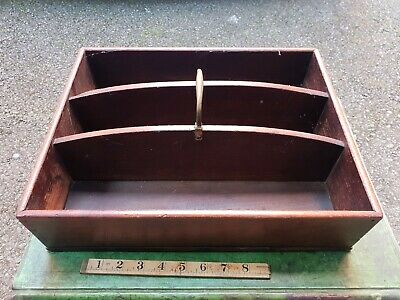 ANTIQUE VICTORIAN OAK CUTLERY TRAY / BUTLERS TRAY c 1850's ~ KITCHENALIA