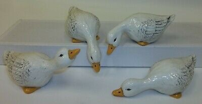 "Set of 4 Vintage Ceramic White Geese Goose 5"" Shelf Sitters Figurines"