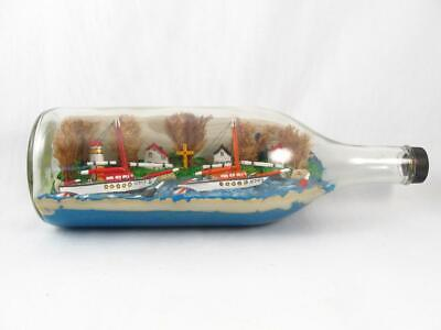 Vintage Folk Art 2 Ship W/ Village & Lighthouse In A Bottle Diorama