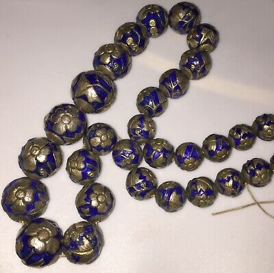31 Antique Chinese Cobalt Blue Enamel & White Metal Beads for Restringing