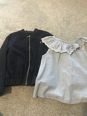 Girks Bavy Lace Zip Jacket And Blue Pretty No Sleeve Top Age 8-9 Years Both Item