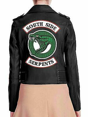 south side Jacket  Snake Gang Logo riverdale Black Faux Leather girls women XL