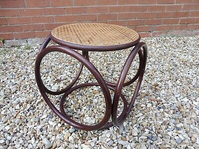 VIntage Mid Century Bentwood Foot Stool Ottoman Rattan Cane Seat Thonet Style