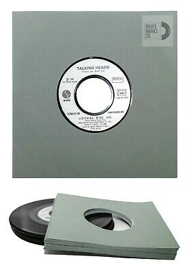 """100 SHEETS - GRAY PREMIUM PAPER & CLEAR SLEEVES FOR 7"""" VINYL RECORDS (45RPMs)"""
