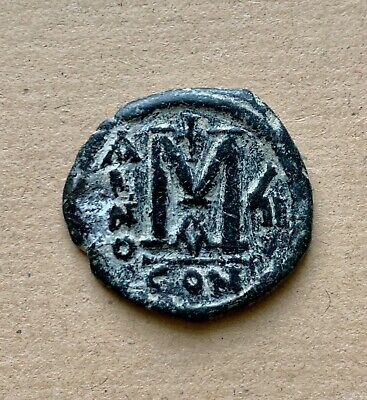 Byzantine follis of Justin II and Sophia (565-574) dated 571AD. Excellent coin!