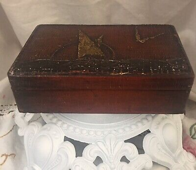 Vintage Nautical Inspired Wood Tongue & Groove Box Wth Sailboat/Frigate