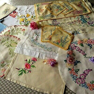 Vintage Hand Embroidered Linen Cloths X 18. All Beautiful Floral Pieces