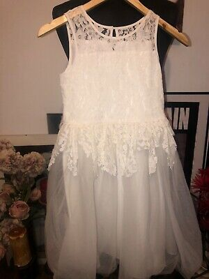 Monsoon Girls Age 11 Beautiful Off White Ivory Lace Tulle Layered Tiered Dress