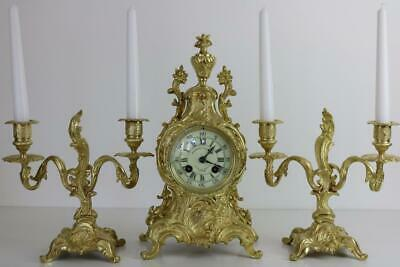 ANTIQUE FRENCH MANTEL CLOCK SET or GARNITURE in GOLDEN BRONZE ORMOLU