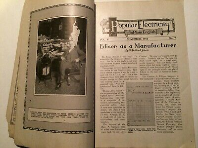 1912 POPULAR ELECTRICITY November Great Articles Ads LOOK   NO COVER