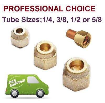 Female Flare Sealing Cap Connection 45 Degree Brass Thread Nut, Lot of 2
