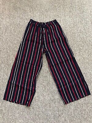 Next Girls Black Red White Summer Floaty Wide Leg Fashion Trousers 7-8 Yrs