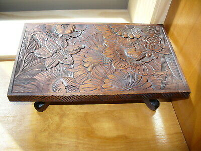 "Vintage 1960s Japanese wooden hand carved stand 11 7/8"" x7 1/2 ""x3/4"" 4"" tall"