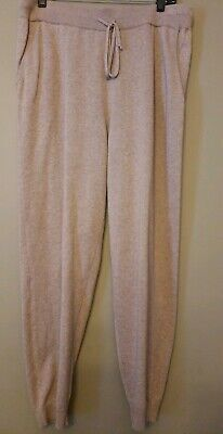 Eileen Fisher Oatmeal Lounge Jogger Ankle Drawstring Knit Pants Pockets Sz M