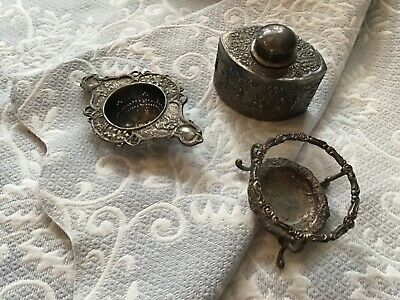 Antique Barbour Bros Silverplate Tea Caddy and Tea strainer with stand. RARE!!!