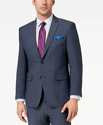 Perry Ellis Men's Slim-Fit Stretch New Blue Textured Suit Jacket, 48R 48 Regular