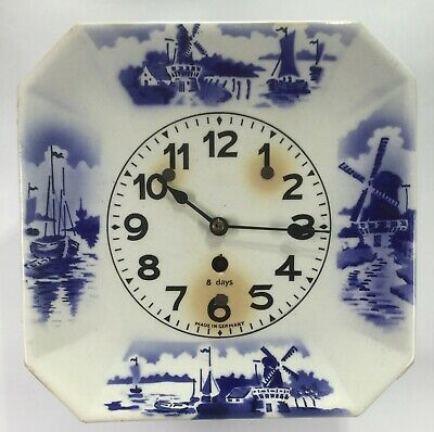 Delft Square Ceramic Plate 8 Day Wall Clock - Germany