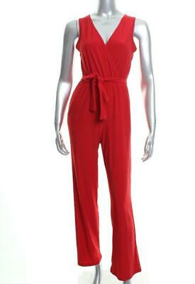 New Women's NY Collection Petite Surplice Belted Wide-Leg Rogue Red Jumpsuit PXS