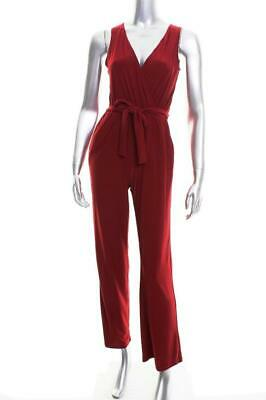 New Women's NY Collection Petite Surplice Burgundy Belted Wide Leg Jumpsuit PXS