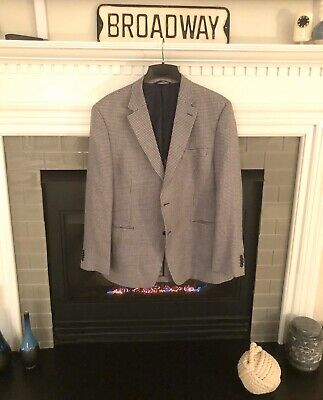 Retro Ralph Lauren Silver Label Mens Houndstooth Blazer Jacket 46R Navy