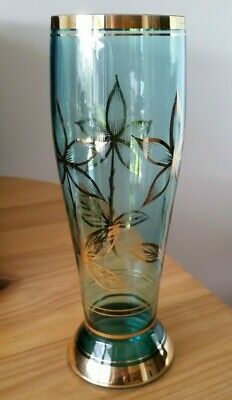 Vintage Aqua with Gold trim and decoration Tall Glass Vase