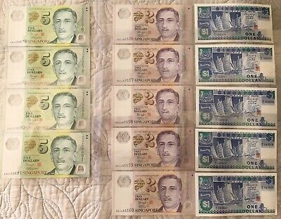 14 X Singapore Banknotes Uncirculated/Consecutive
