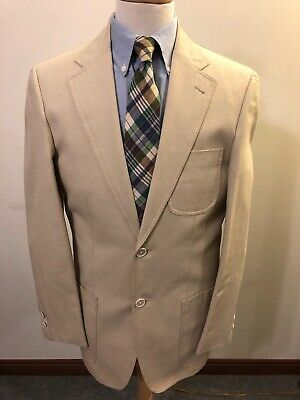 NWT Men's J Press Cotton Light Tan Two-Button Sport Coat-40L Long-Trad Ivy